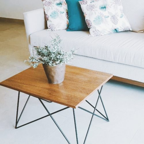 Handcrafted wood living room table.