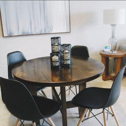 Custom made wood dinner table